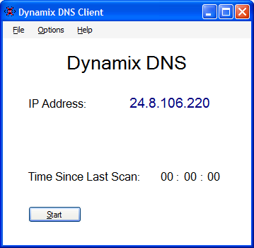 Dynamix DNS Windows Client Dynamic DNS Screenshot
